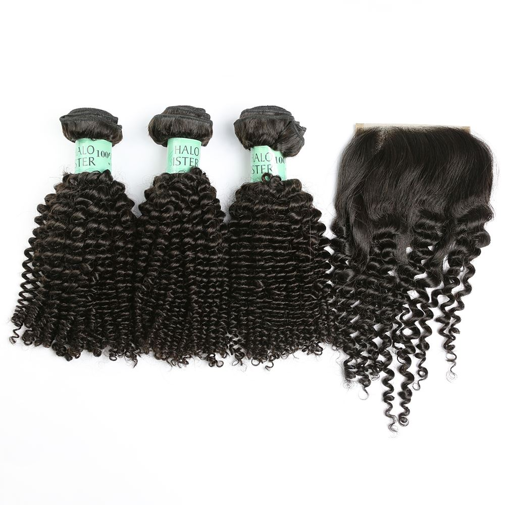 Halo Sister Brazilian Jerry Curly Virgin Hair Weave With Closure