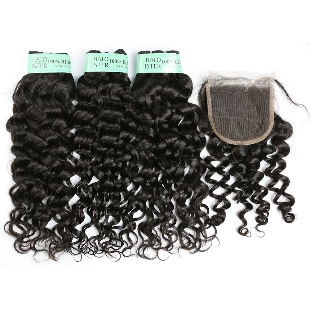 Halo Sister Indian Italian Curly Hair Weave Human Hair With Closure
